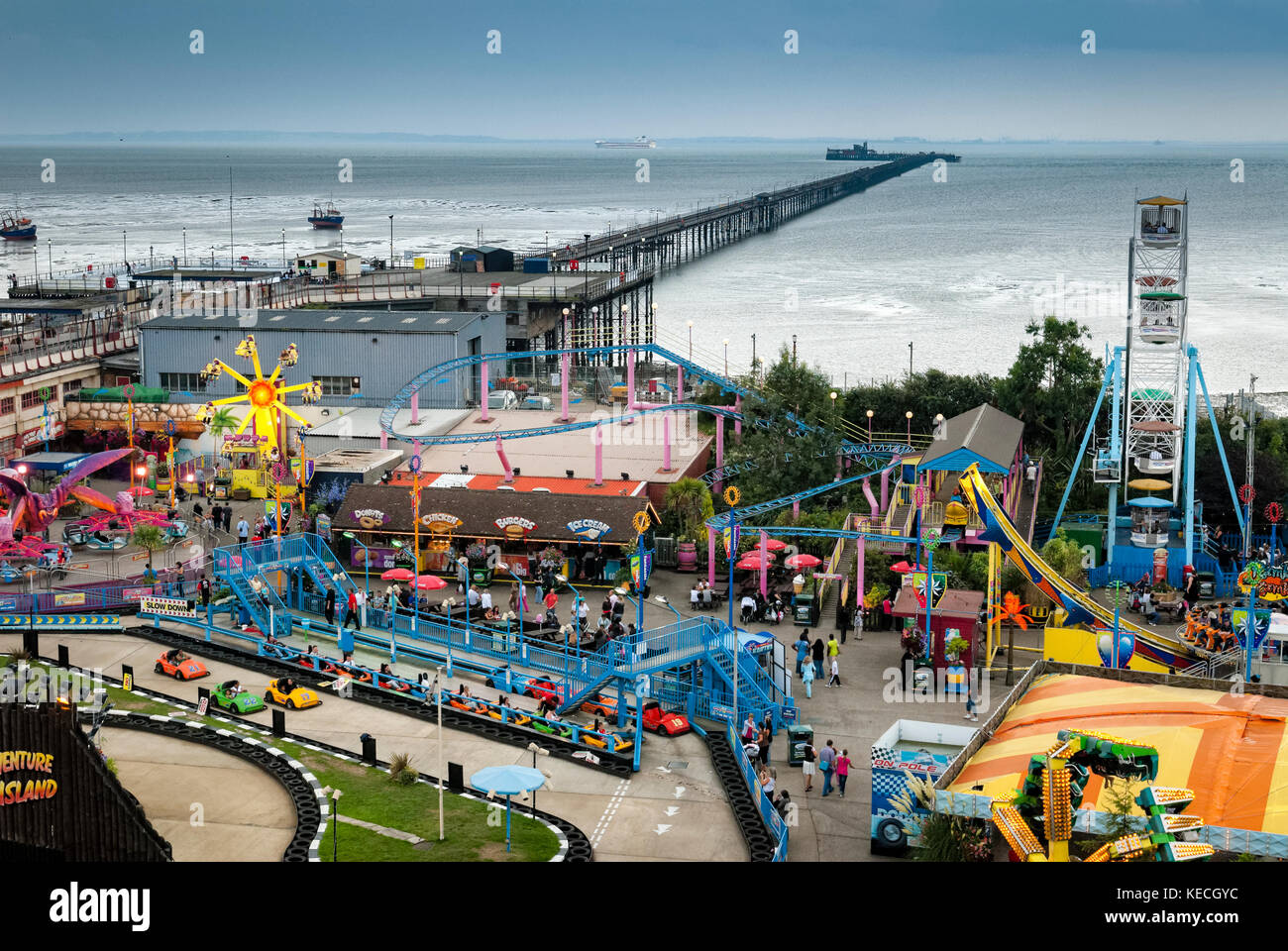 Adventure Island and Southend Pier, The longest pier in the world at 1.34 miles or 2.16 km reaching out into the - Stock Image