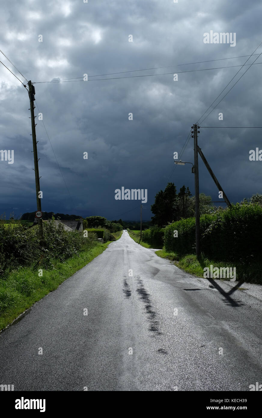 Approaching thunderstorm, County Antrim, Northern Ireland. - Stock Image