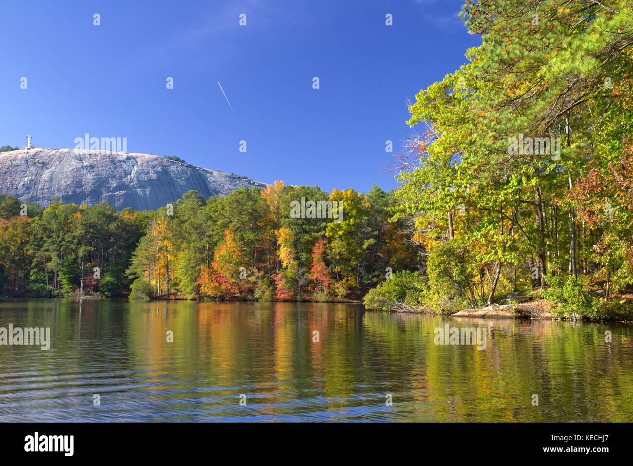 Stone Mountain park, GA in autumn foliage - Stock Image
