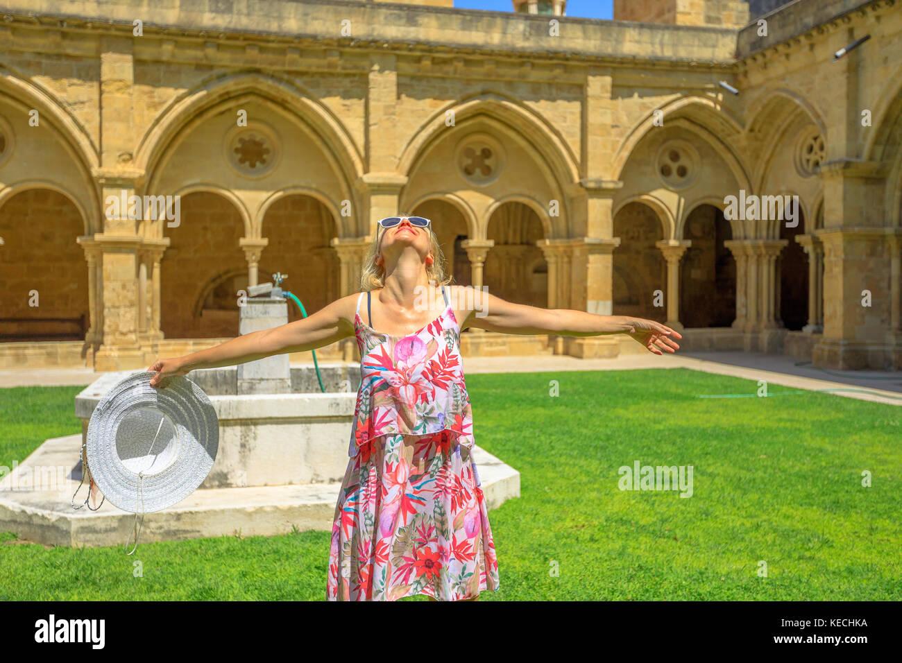 Tourist woman in Coimbra Stock Photo
