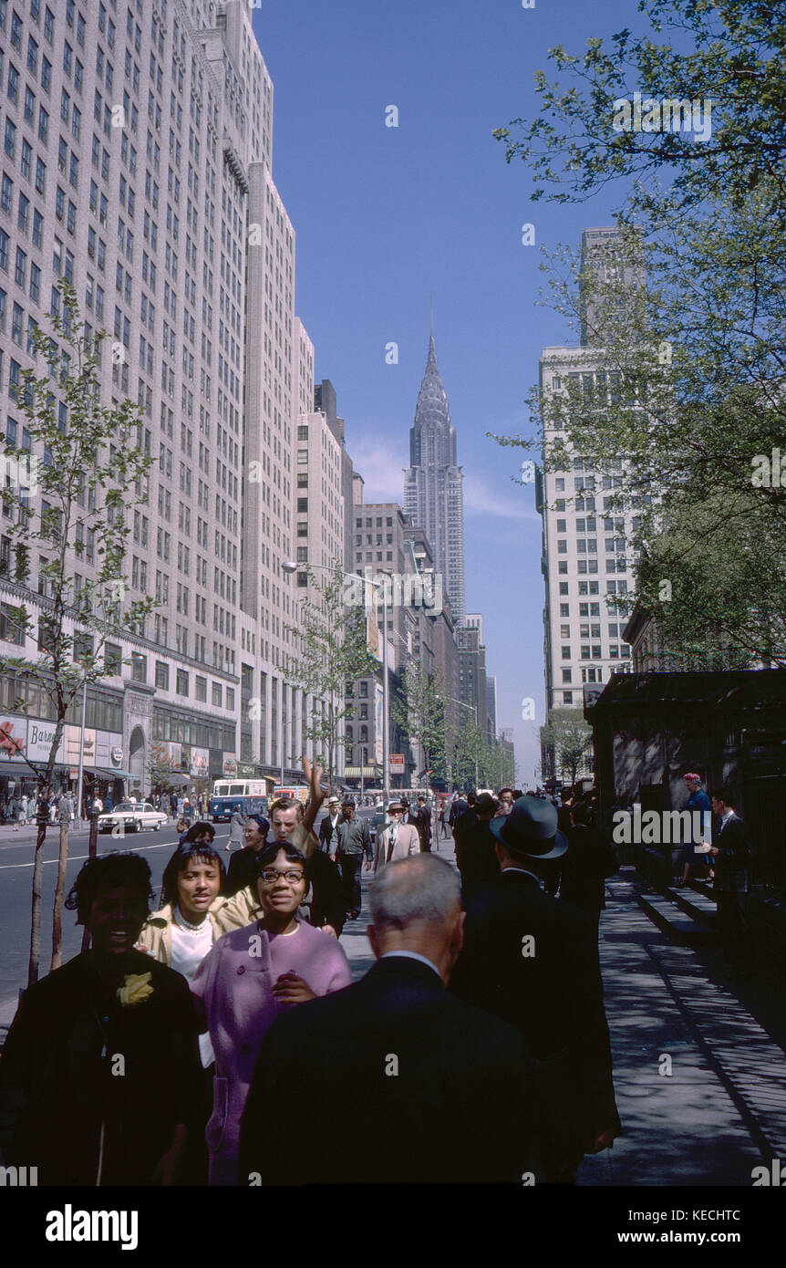 Crowd on Sidewalk with View of Chrysler Building in Background, 42nd Street, New York City, New York, USA, August - Stock Image
