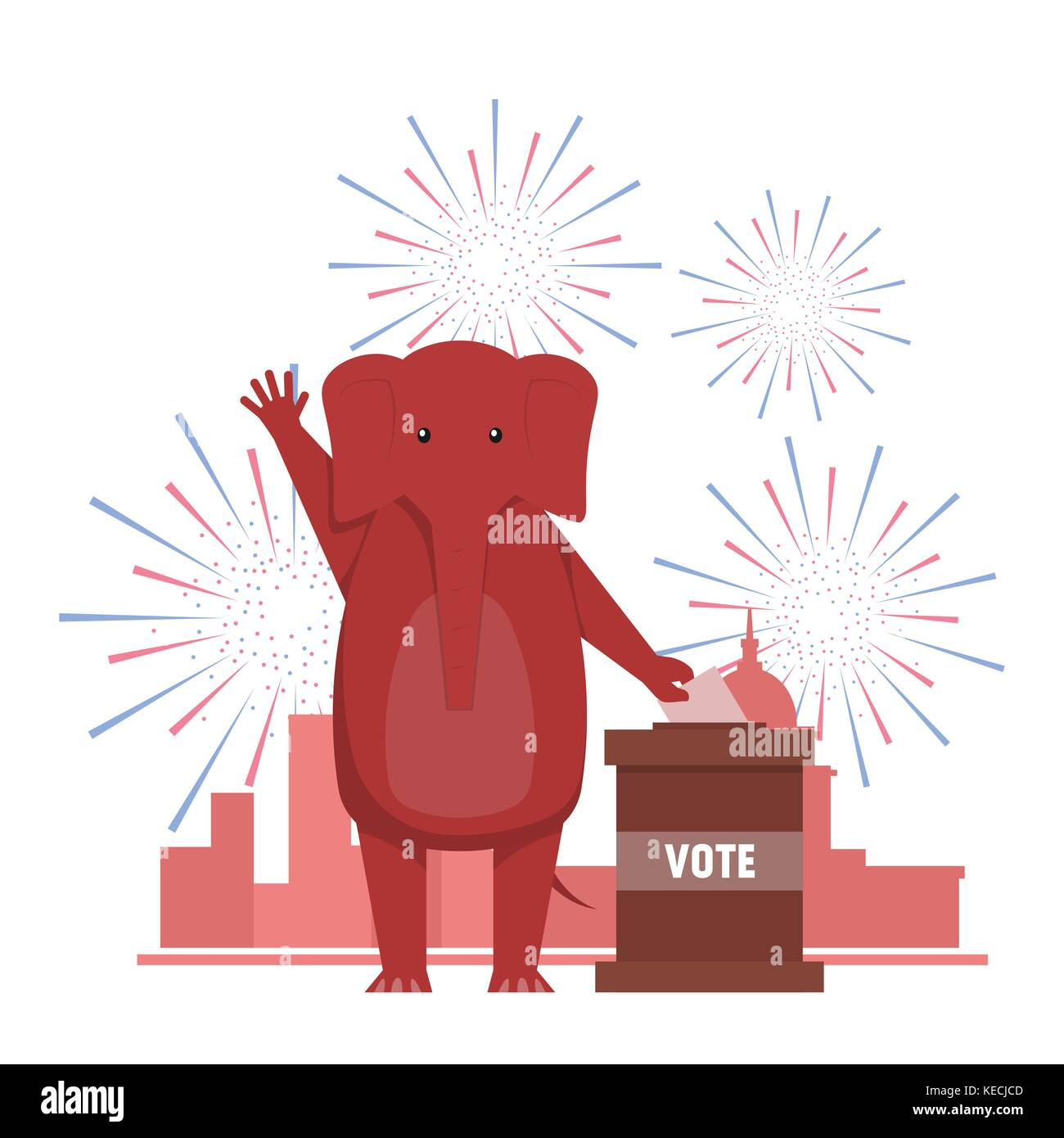The USA elections result illustration. Democratic donkey and republican elephant contest result. - Stock Image