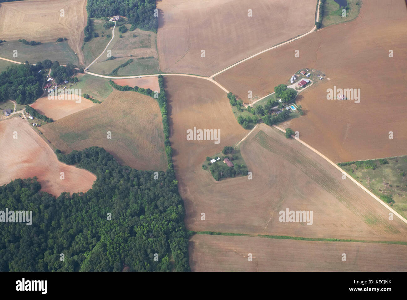 Farmland from the air, south of Atlanta Georgia USA - Stock Image