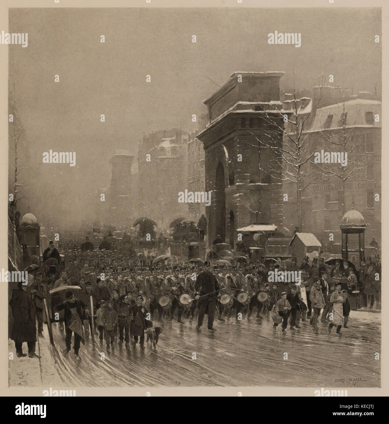 The Passing Regiment, Photogravure Print from the Original Painting by, Edouard Detaille, The Masterpieces of French - Stock Image