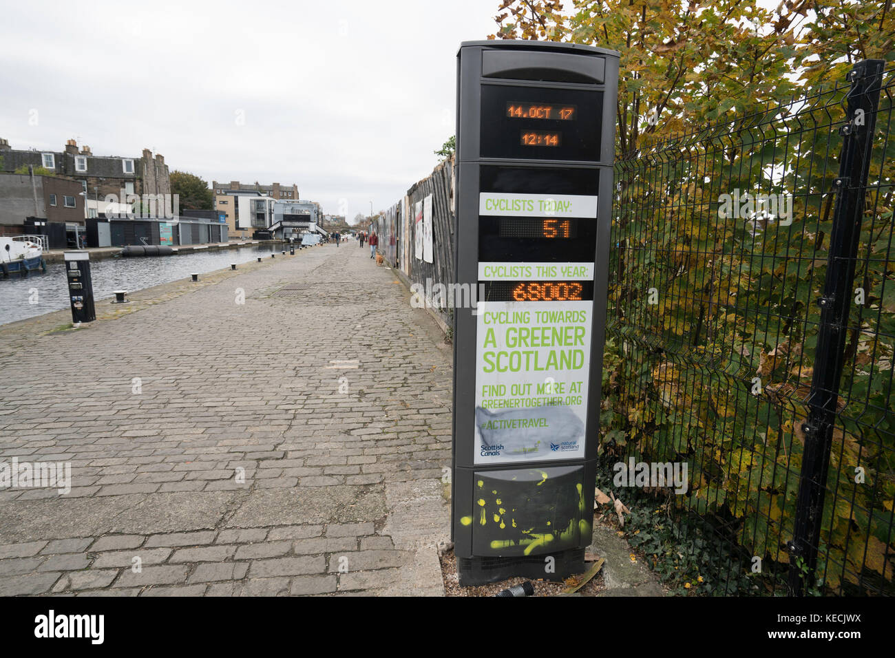 Towpath beside Union Canal at Fountainbridge with display showing number of cyclists passing, in Edinburgh , Scotland, - Stock Image