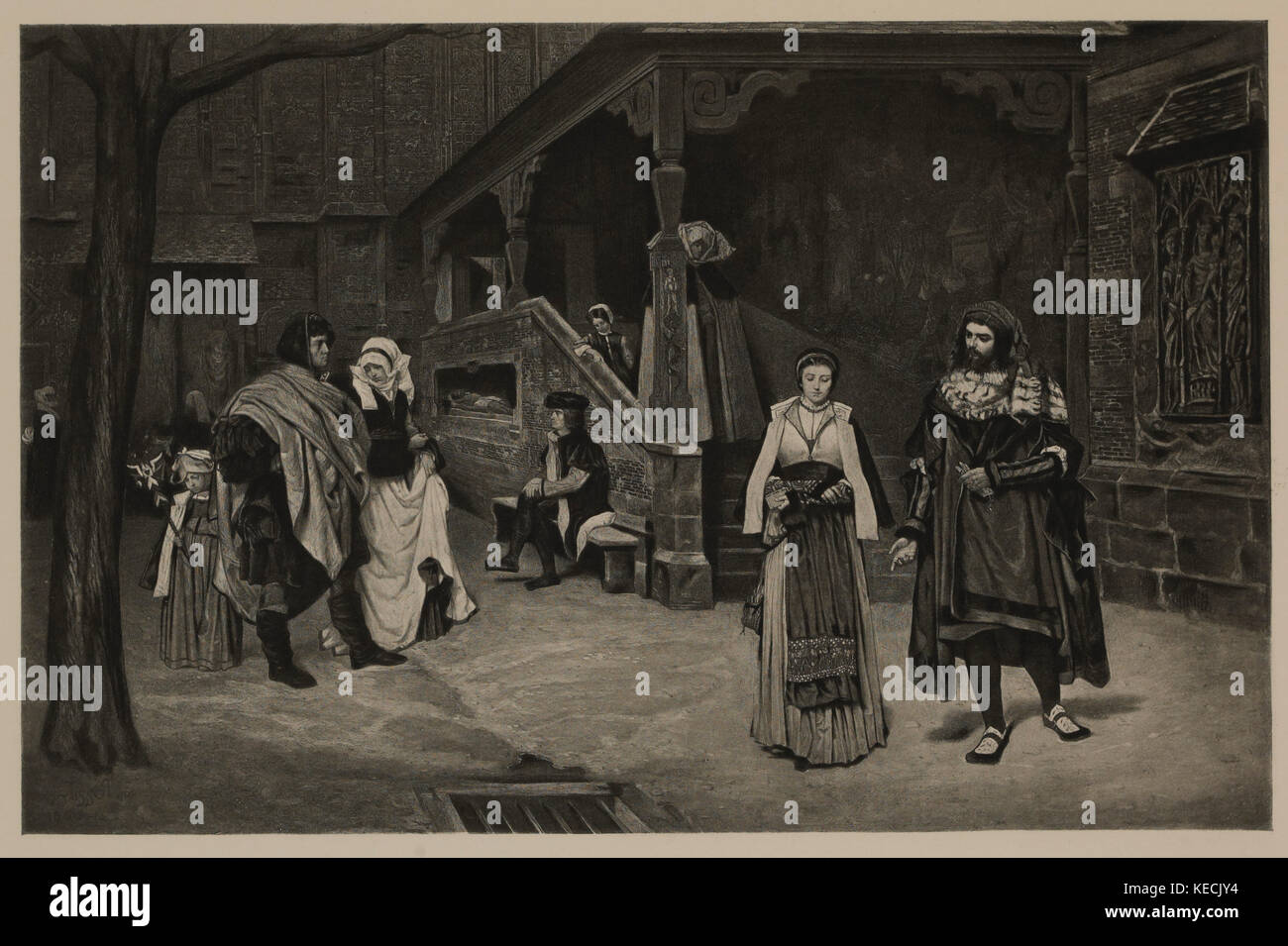 The Meeting of Faust and Marguerite, Photogravure Print from the Original 1860 Painting by James Tissot, The Masterpieces - Stock Image