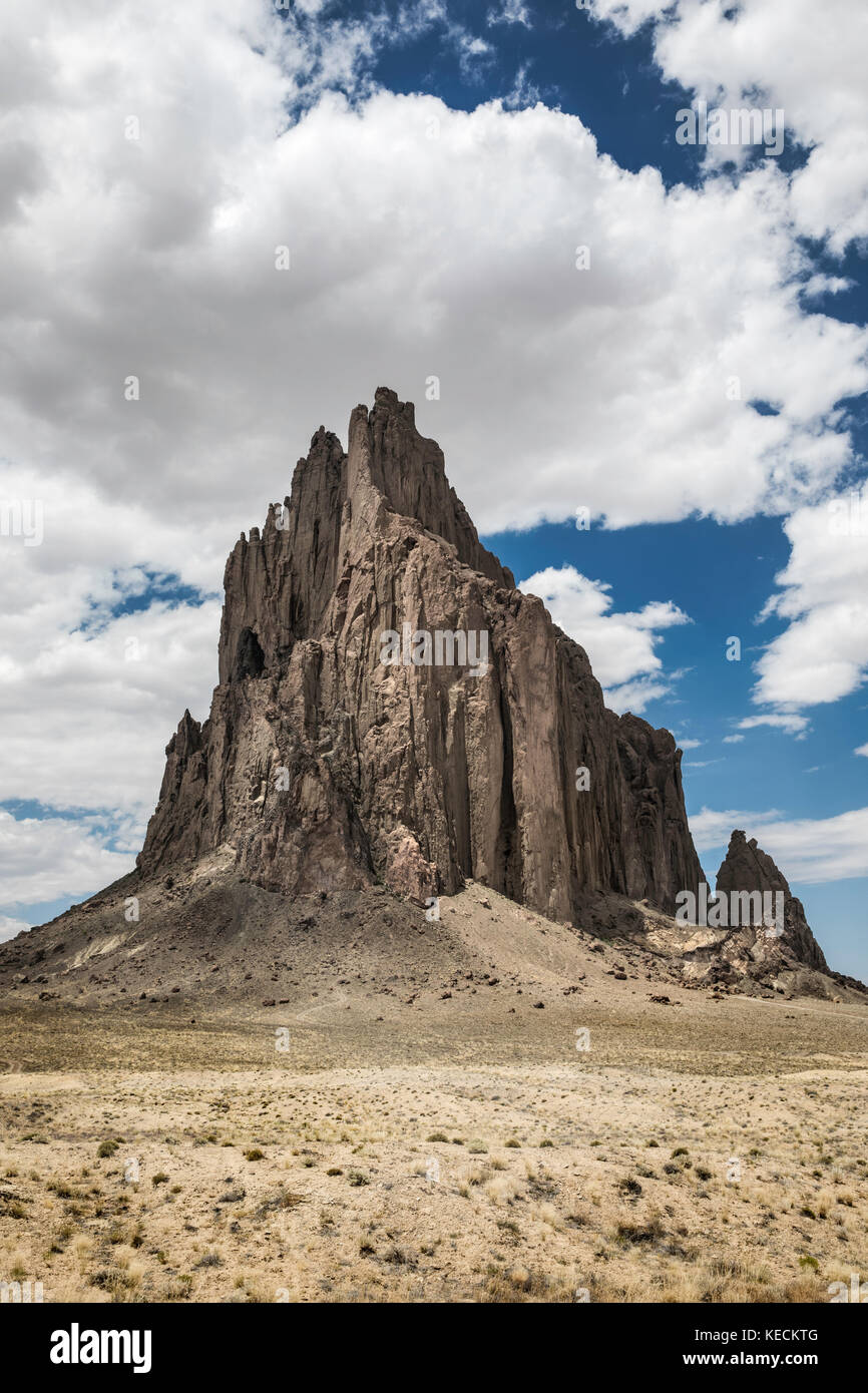 Shiprock is a classic example of a volcanic plug, New Mexico, USA - Stock Image