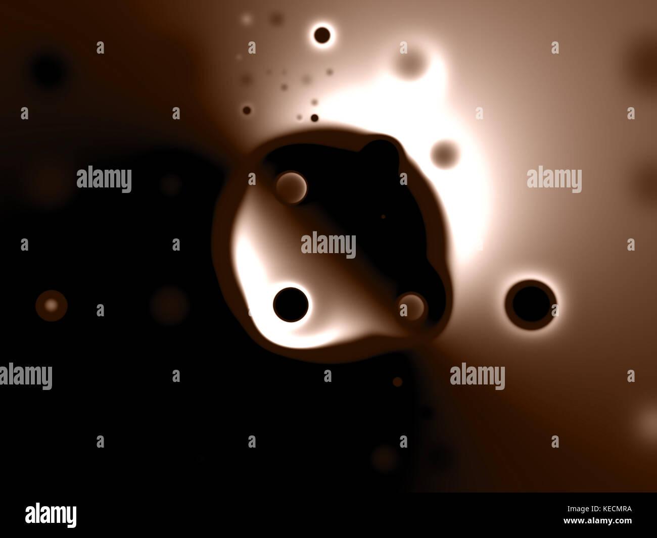 Strange blobs orbiting a darkened planet. - Stock Image