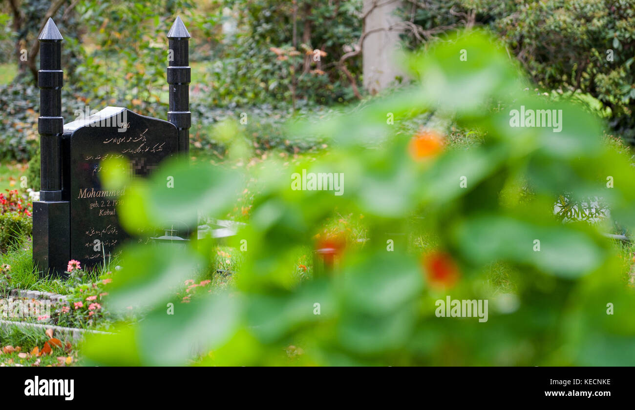 Gravestones on Muslim burial ground, Stöcken cemetery, Hanover, Lower Saxony, pictured on 28th October 2013. - Stock Image