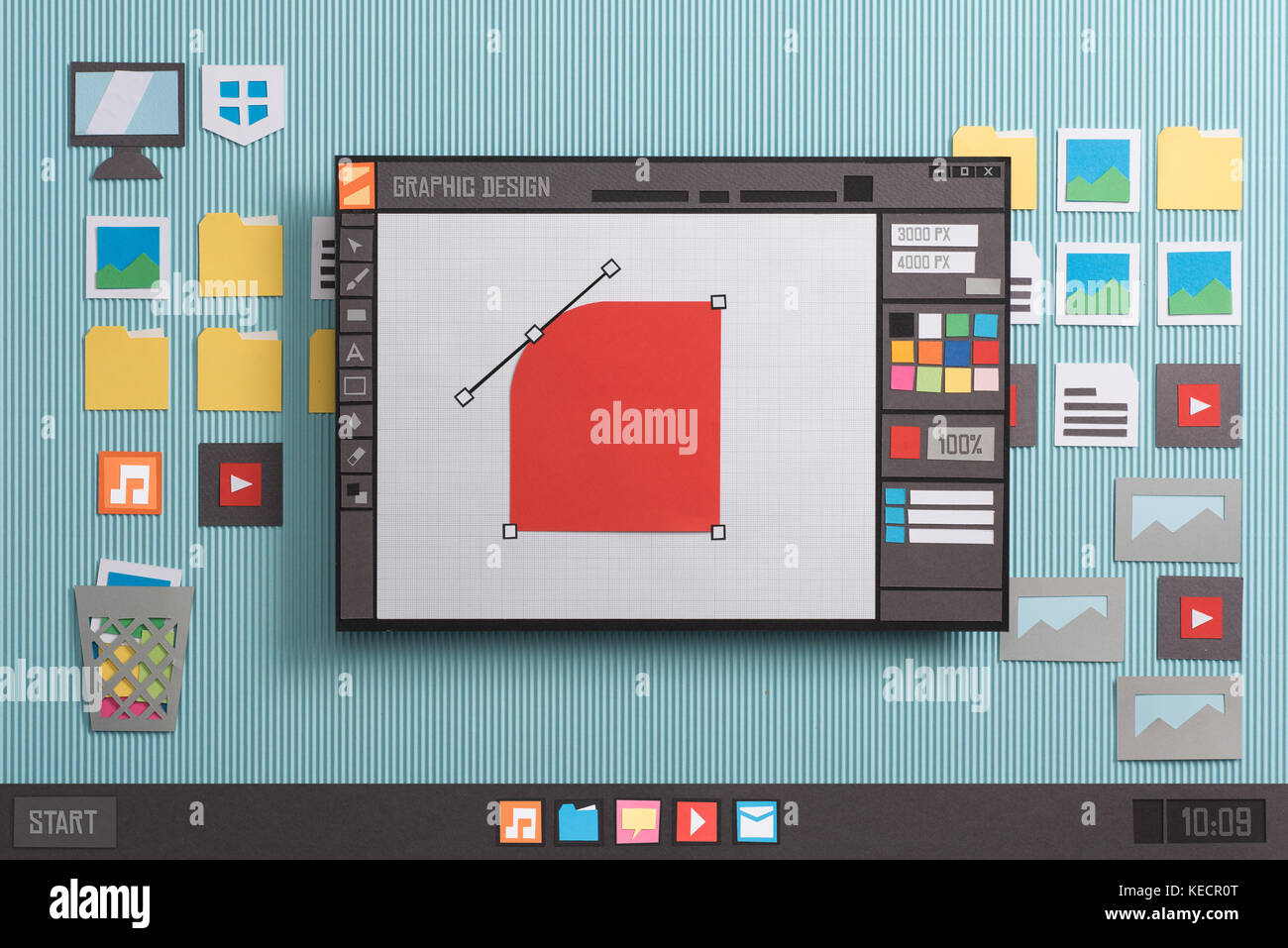 Graphic design and vector illustration software interface