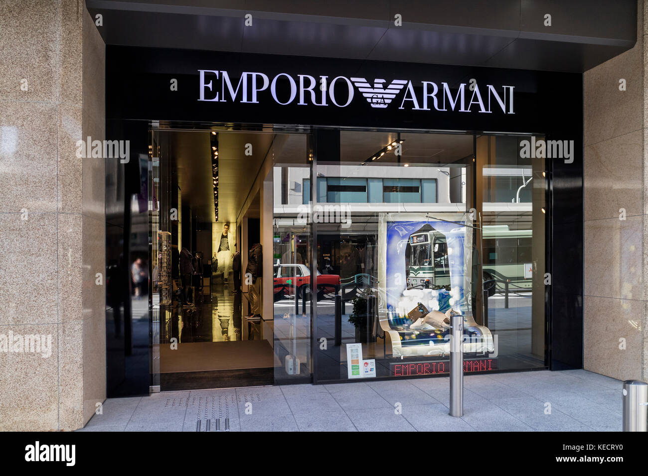 Kyoto, Japan -  May 22, 2017: Front of the fashion store Emporio Armani in the street of Kyoyo - Stock Image