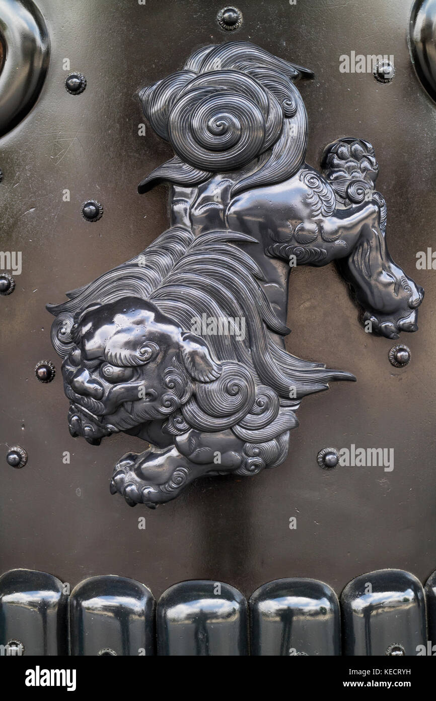 Kyoto, Japan -  May 23, 2017: Decoration of a guardian lion dog in the Higashi Honganji Temple in Kyoto Stock Photo
