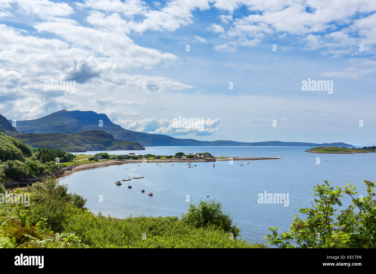View over Ardmair Point from the the A835, part of the North Coast 500 scenic route, Wester Ross, Highland, Scotland, - Stock Image