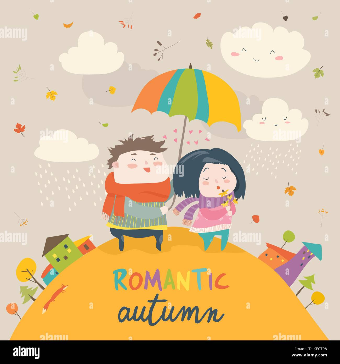 Cute couple with an umbrella in the autumn rain stock image