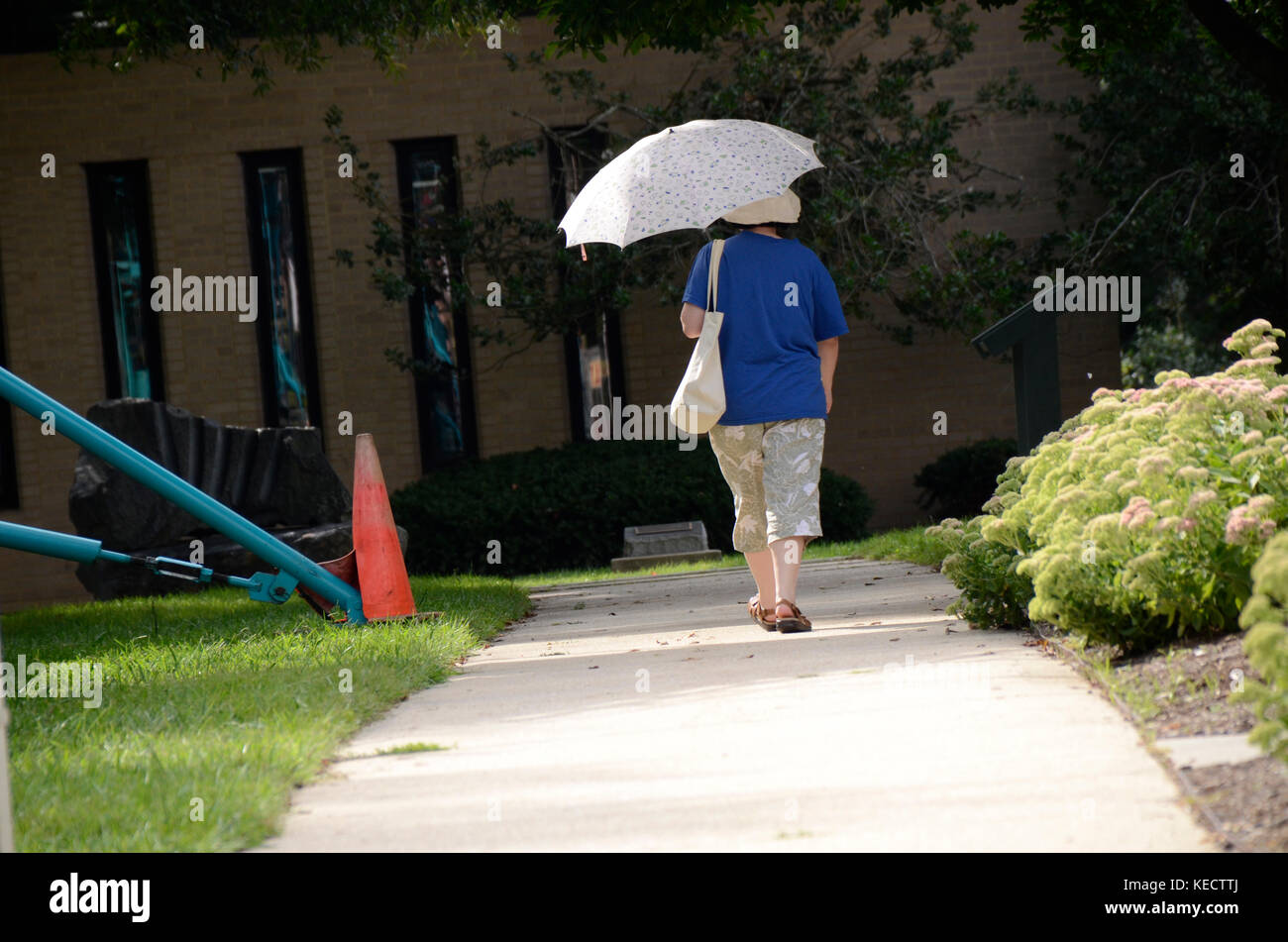 woman with a umbrella to keep cool walks down the sidewalk - Stock Image