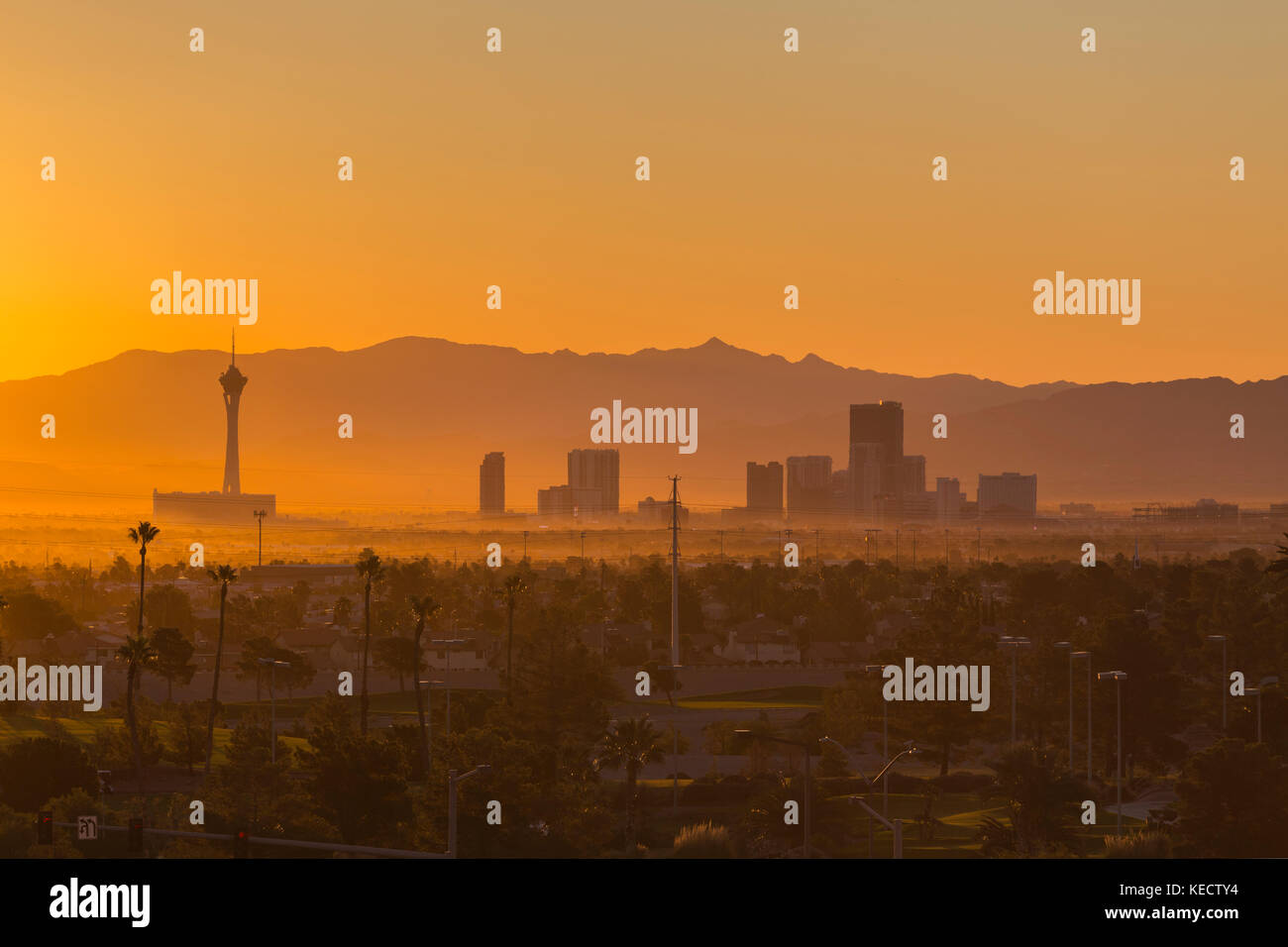 Las Vegas, Nevada, USA - October 10, 2017:  Hazy morning sunrise view of towers on the Las Vegas strip. - Stock Image