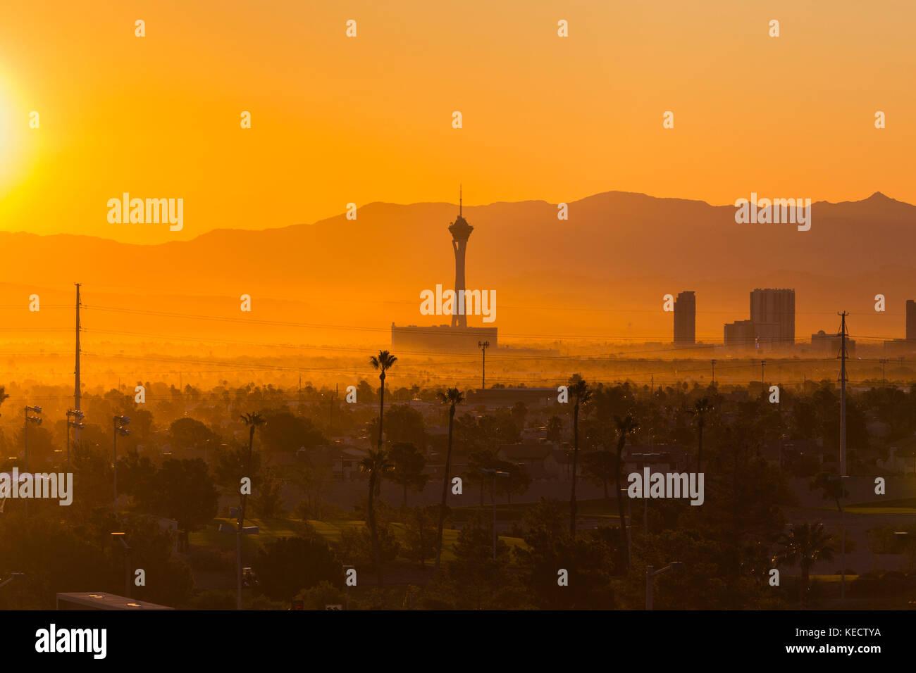 Las Vegas, Nevada, USA - October 10, 2017:  Hazy morning sunrise view towards Stratosphere tower on the Las Vegas - Stock Image