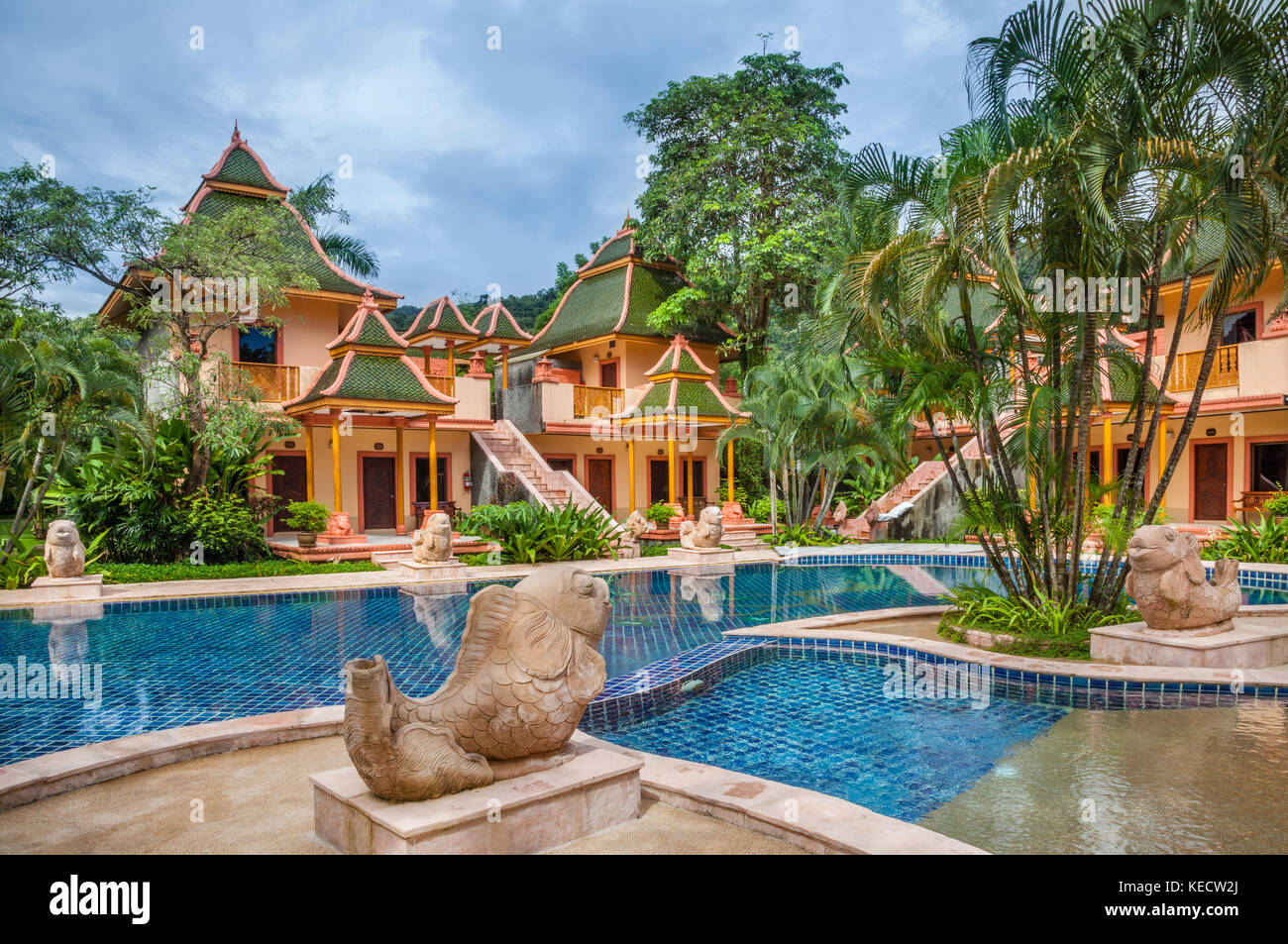Thailand, Trat Province, Koh Chang Island in the Gulf of Thailand, Ao Klong Phrao Beach, pool of the Coconut Beach - Stock Image