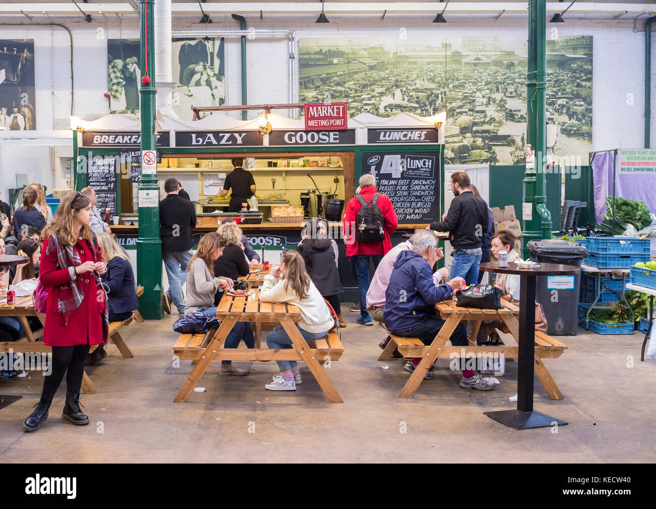 Eating area at food stall, St. Georges Market, Belfast - Stock Image