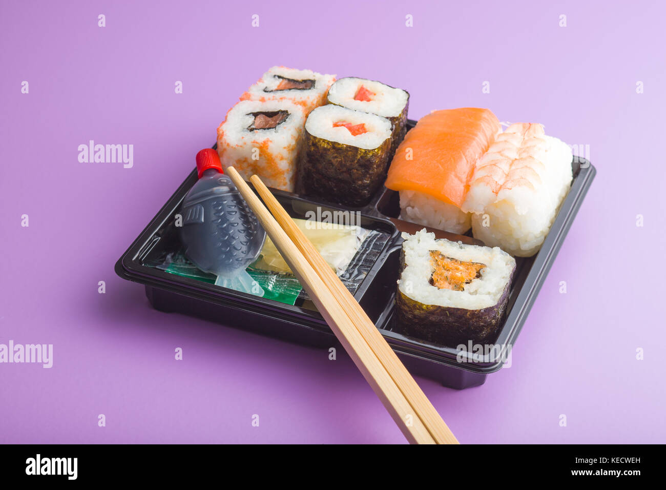 Eating set of sushi in box. Different types of sushi. - Stock Image