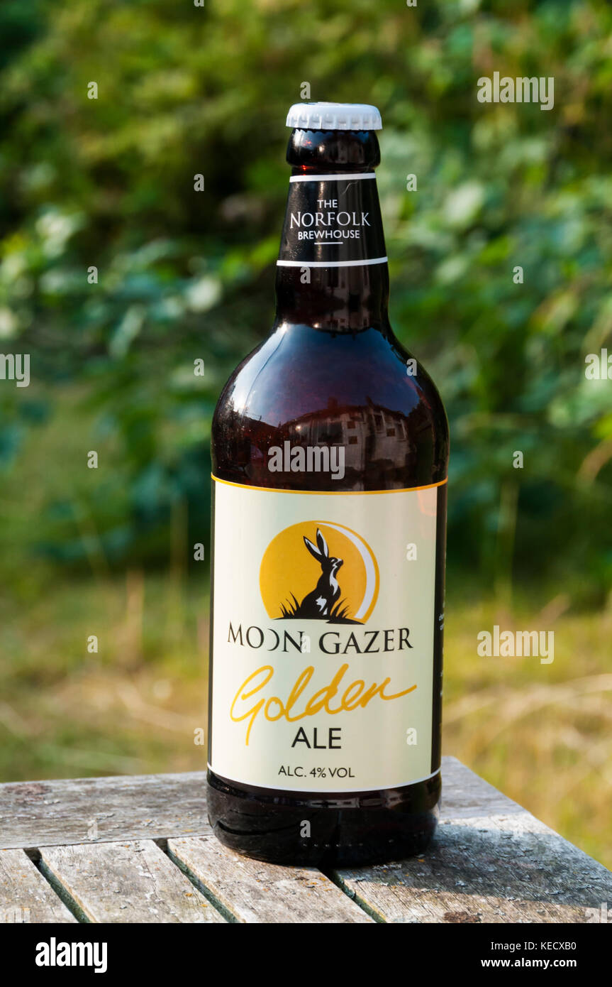 A bottle of Moon Gazer Golden Ale from the Norfolk Brewhouse. - Stock Image