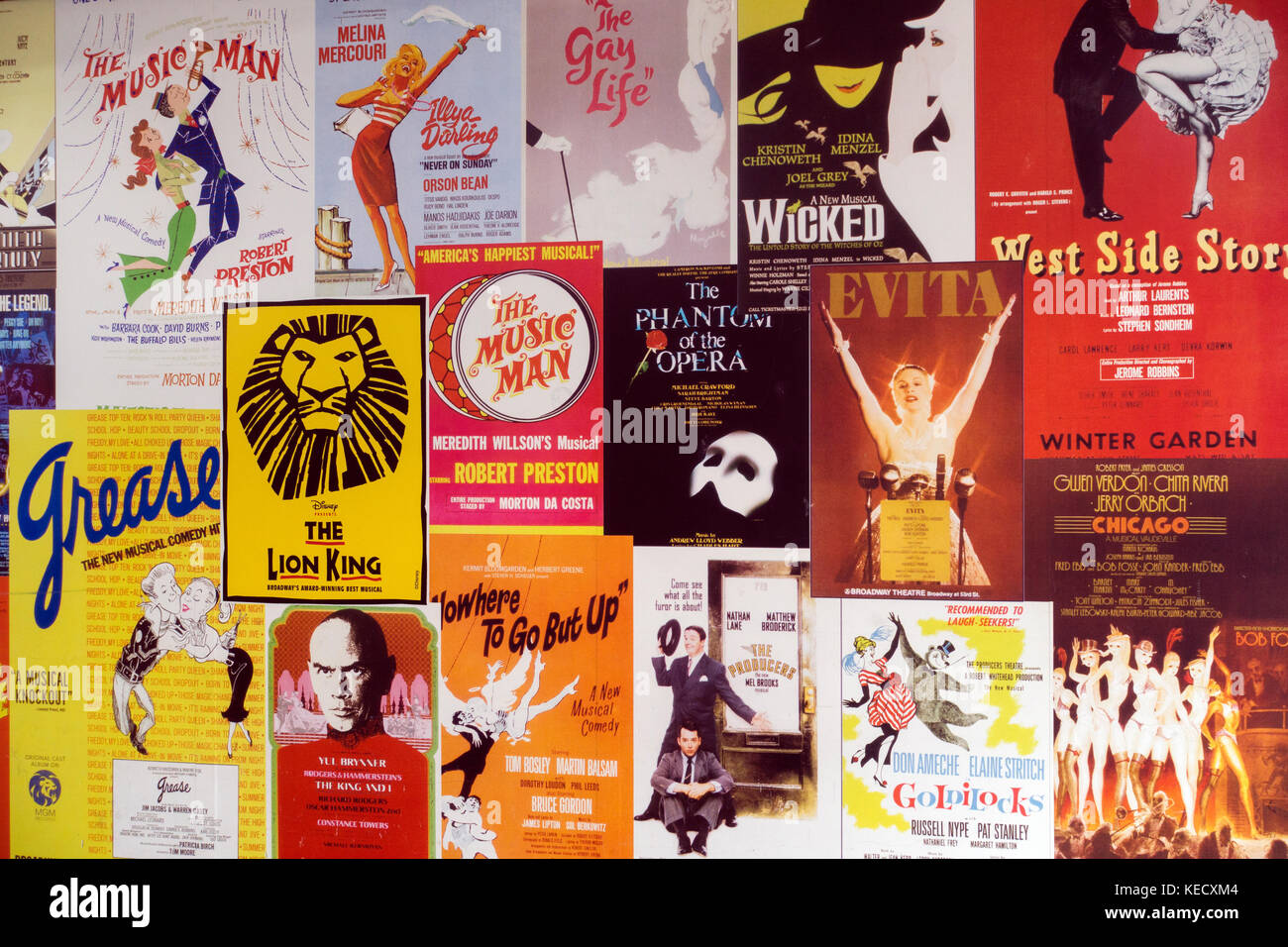 posters Broadway theater marquee NYC Stock Photo
