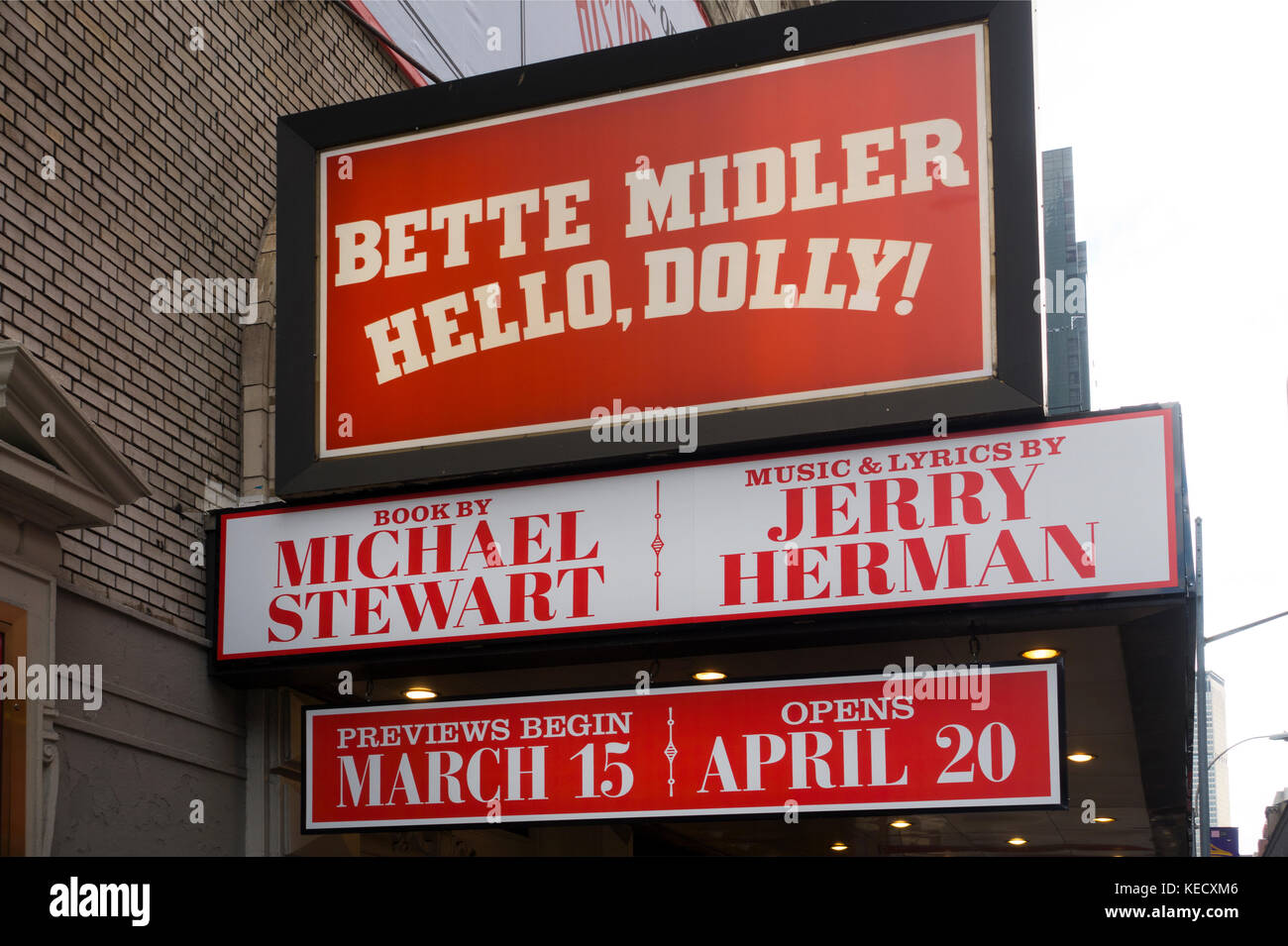 Hello Dolly Broadway theater marquee NYC Stock Photo