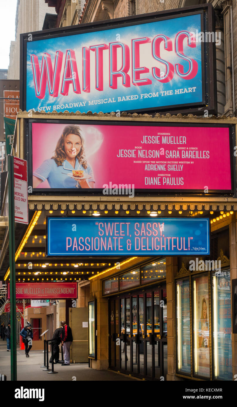 Waitress Broadway theater marquee NYC Stock Photo