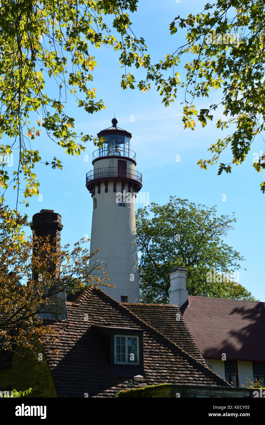 The Grosse Point Light Station was dedicated in 1873 and guided shipping on Lake Michigan off Evanston IL. Today - Stock Image