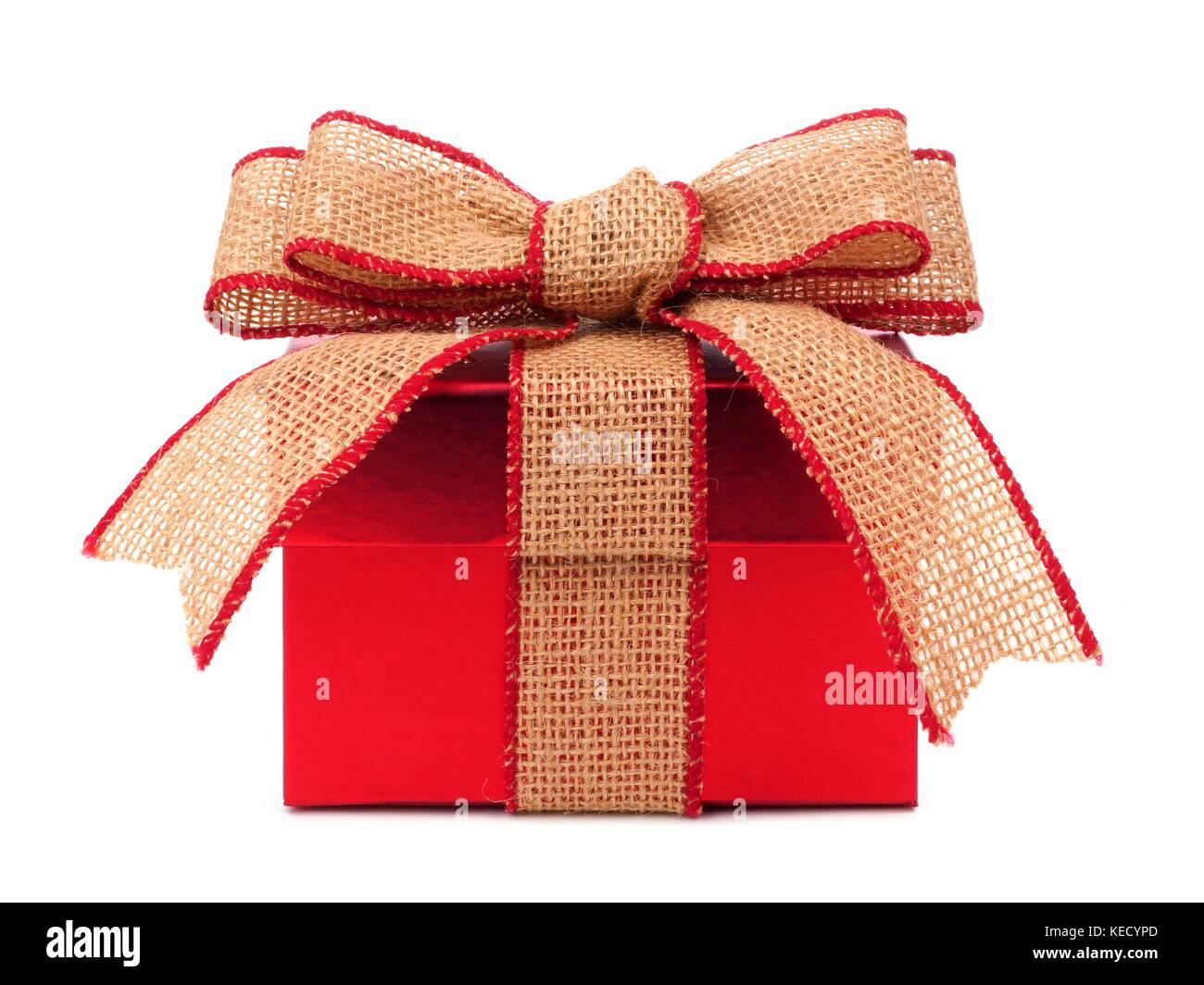 Red gift box wrapped with rustic burlap bow and ribbon isolated on red gift box wrapped with rustic burlap bow and ribbon isolated on white negle Images