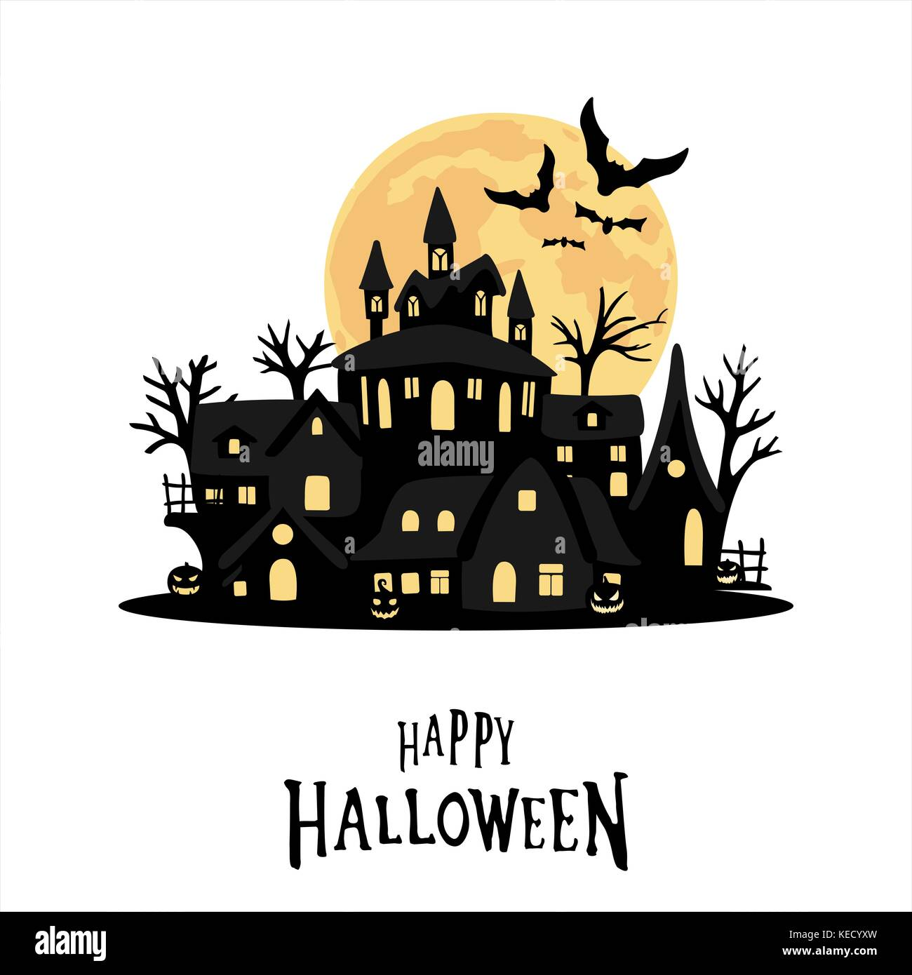 halloween silhouette card and background - Stock Image