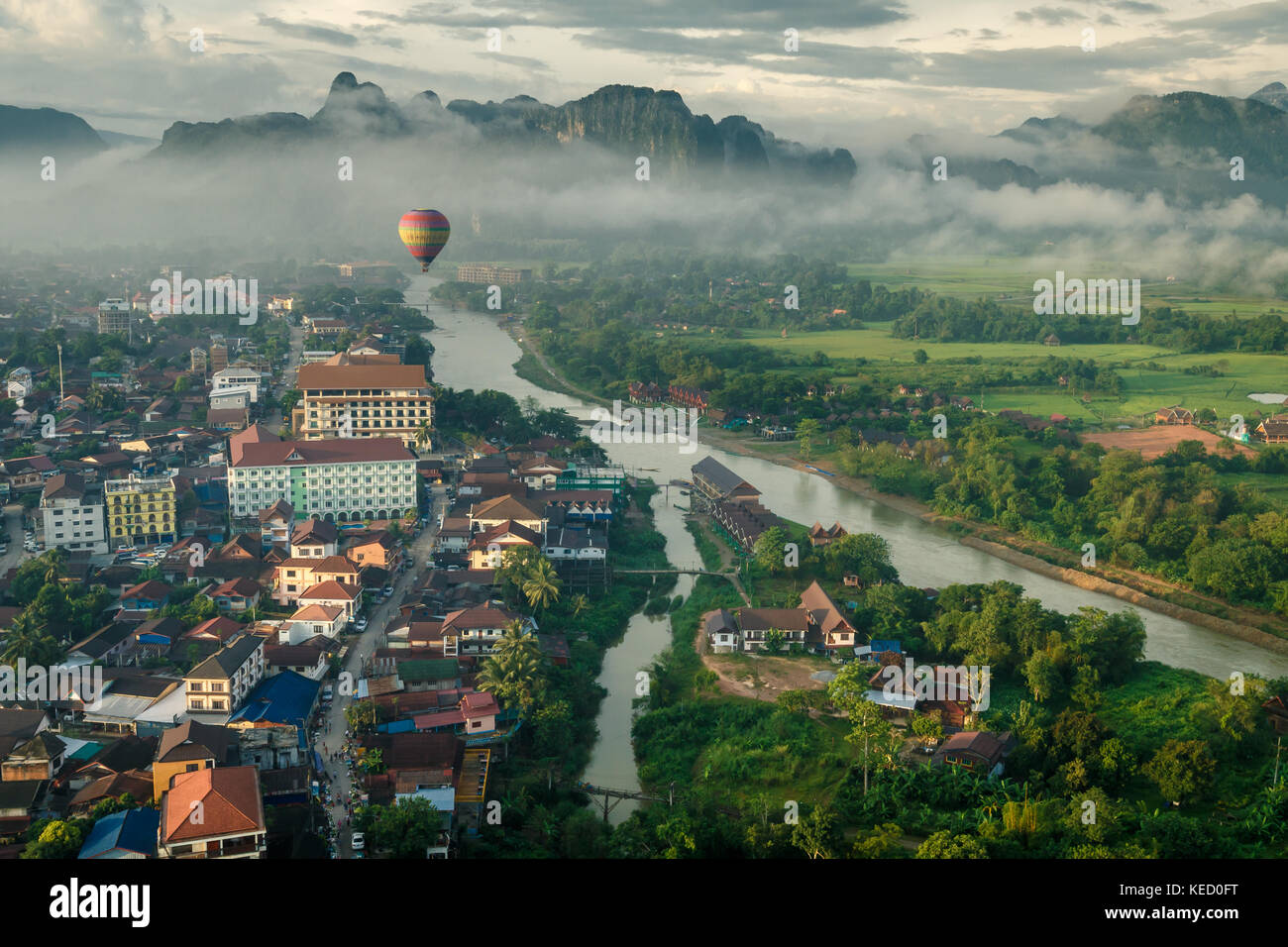 Morning view of Vang Vieng, Northern Laos. - Stock Image