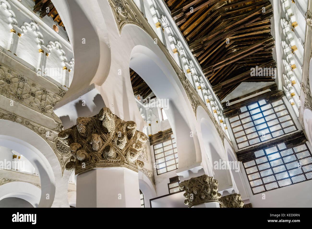 Toledo, Spain - October 13, 2017: Interior view of Santa Maria la Blanca Synagogue. It was constructed under the - Stock Image
