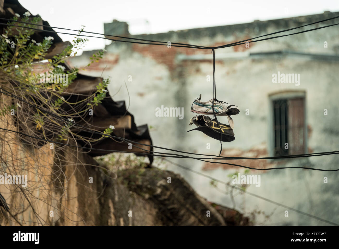 Old worn out shoes tossed on a wire (shoefitti) in from of a old building or ruin - Stock Image