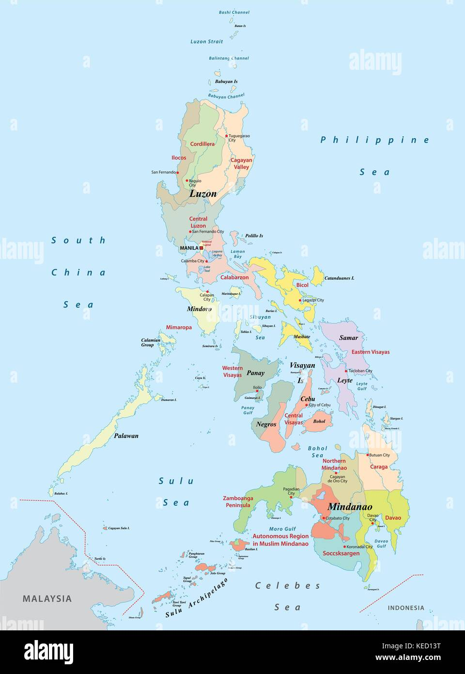 philippines administrative map Stock Vector