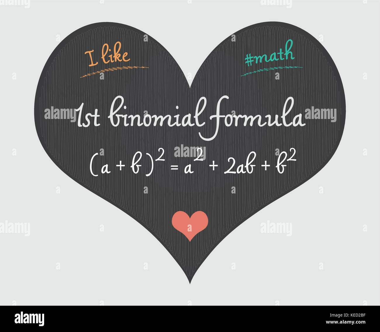 1st binomial formula - I like math illustration - Stock Vector