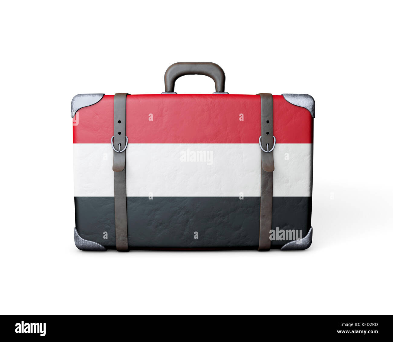 Yemen flag on a vintage leather suitcase. 3D Rendering - Stock Image