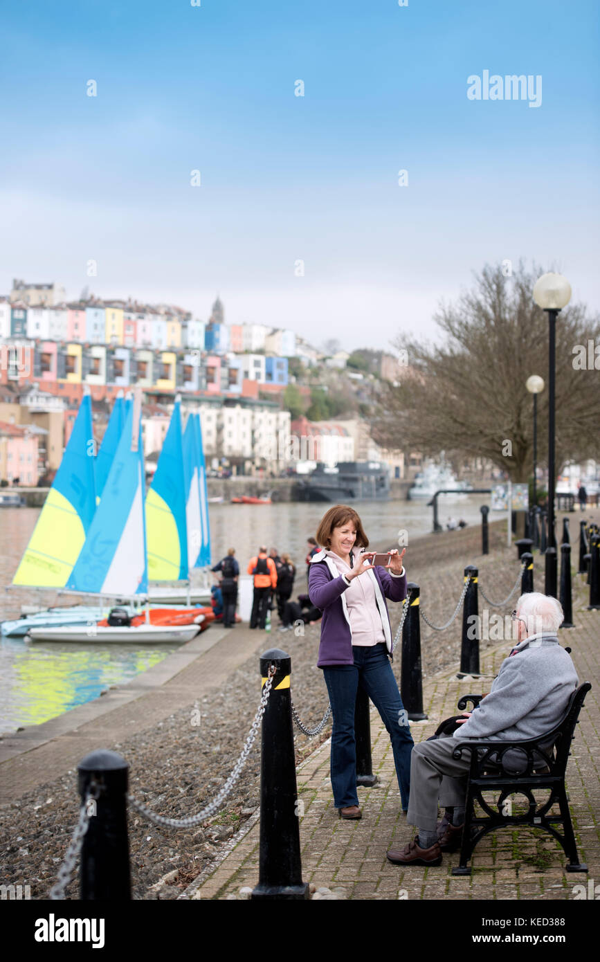 Sightseers and yachts in Bristol Marina UK - Stock Image