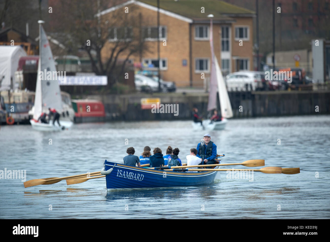 spGig rowers in the docks at Hotwells in Bristol Docks - Stock Image