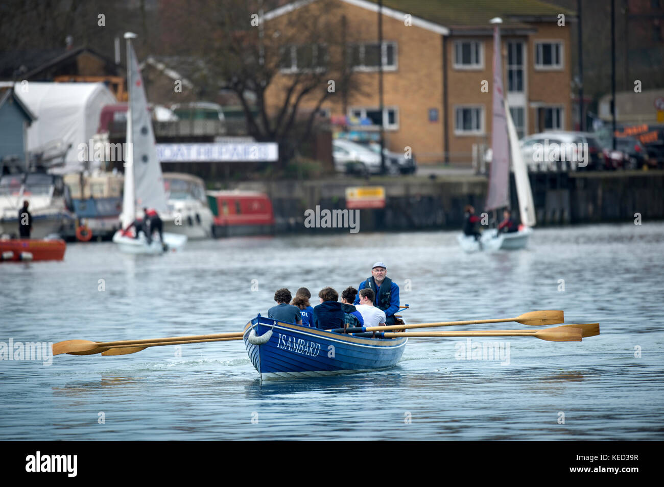 Gig rowers in the docks at Hotwells in Bristol Docks - Stock Image