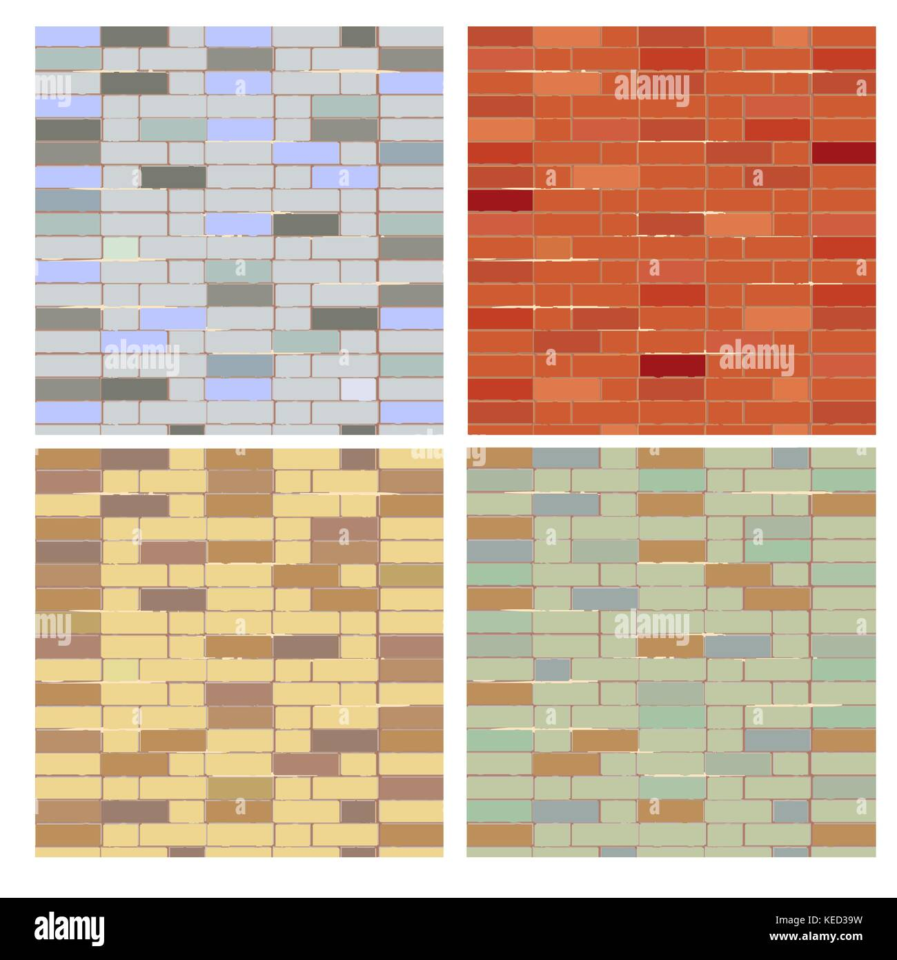 Red brick wall seamless Vector illustration background - texture pattern for continuous replicate. - Stock Vector