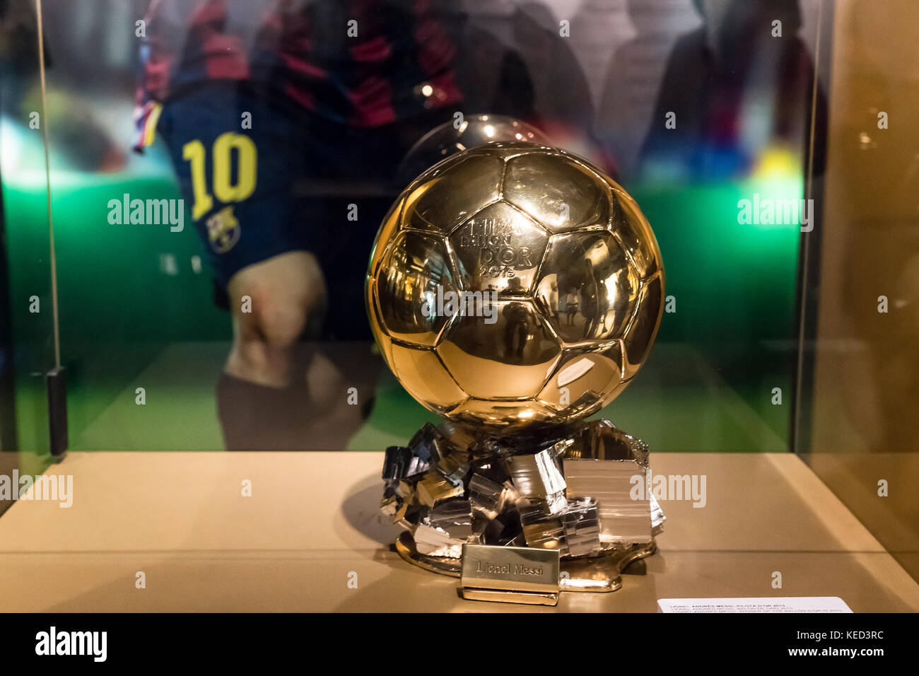 Ballon d'Or awarded to Lionel Messi on display at Camp Nou stadium, Barcelona, Spain. - Stock Image