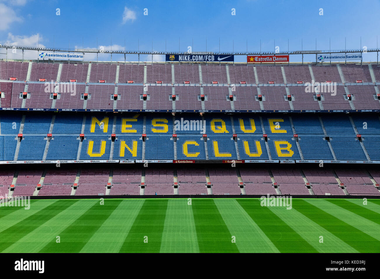 Camp Nou stadium interior, Barcelona, Spain. - Stock Image