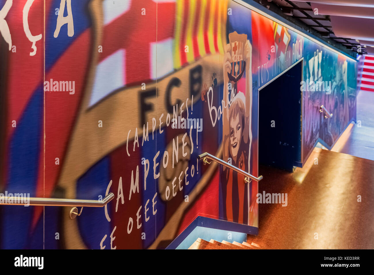 Players tunnel leading to the pitch at Camp Nou stadium, Barcelona, Spain. - Stock Image