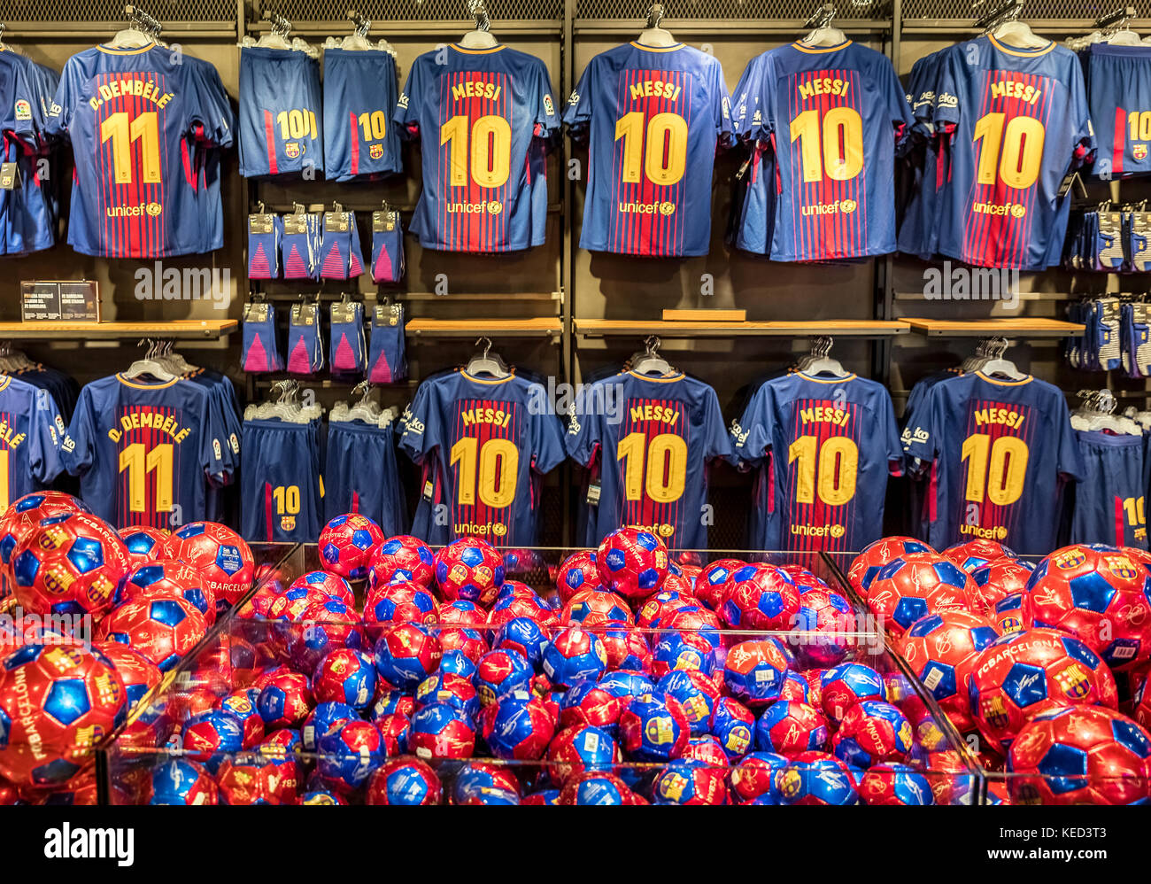 Popular Messi jerseys dominate the Camp Nou store, Barcelona, Spain. - Stock Image