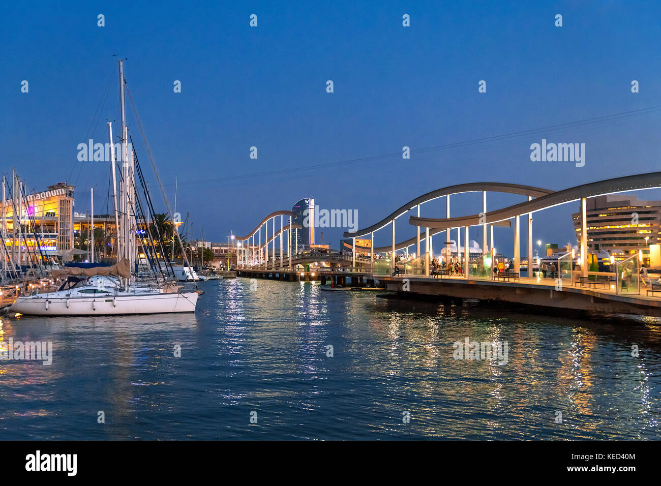 The Rambla de Mar is a walkway over the water, the natural continuation of the Ramblas in Barcelona, Spain. - Stock Image