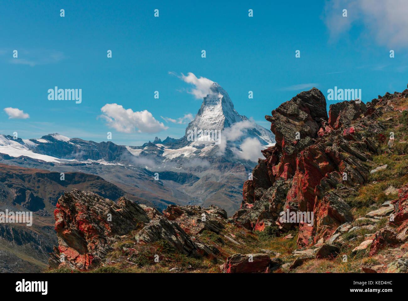 Snow-covered Matterhorn, reddish rock, view of Zermatt, Valais, Switzerland - Stock Image