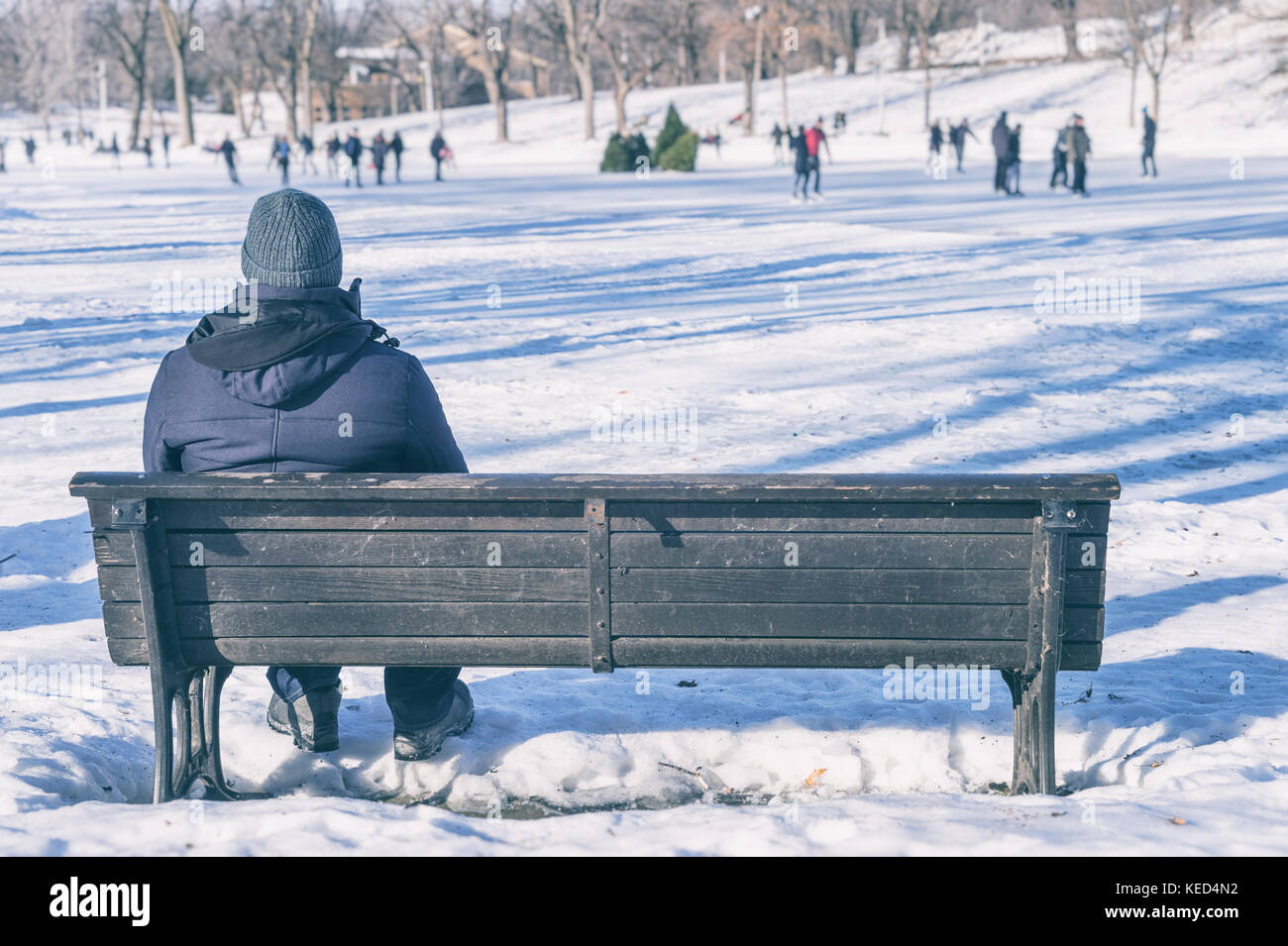 Man sitting on bench looking at people ice skating - Stock Image
