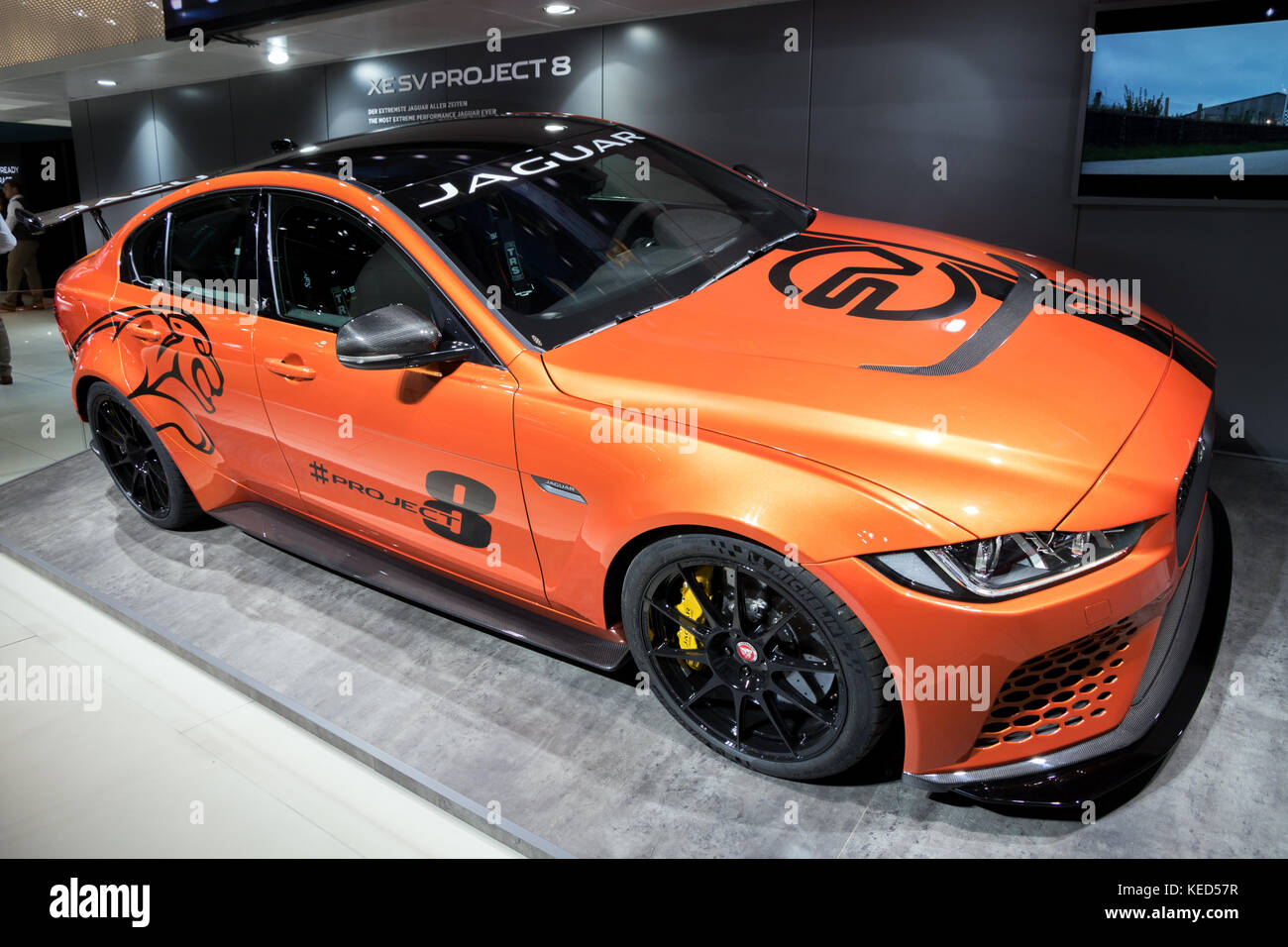 FRANKFURT, GERMANY   SEP 12, 2017: Jaguar XE SV Project 8 Sports Car  Showcased At The Frankfurt IAA Motor Show 2017.