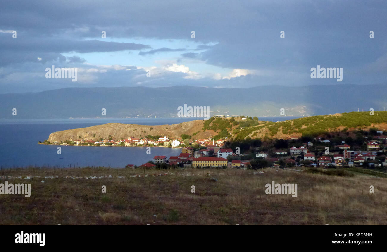Picture of a Lin Village, Ohrid Lake, Albania - Stock Image